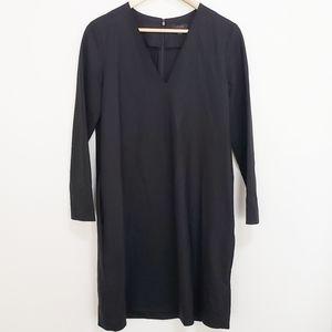 COS Black 96% Wool 4% Spandex Long Sleeve Dress